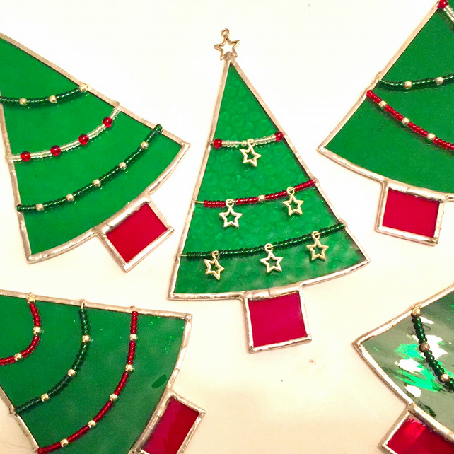 Stained glass Christmas Tree Suncatcher TO ORDER - Handmade Hanging Decoration