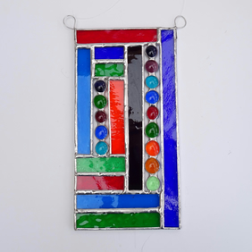 Stained Glass Panel Suncatcher  - Handmade Hanging Decoration - Multi