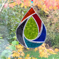 Stained Glass Raindrop Suncatcher - Handmade Hanging Decoration - Multi