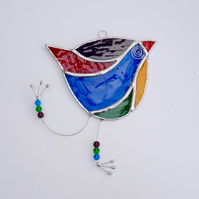 Stained Glass Funky Bird Suncatcher  - Hanging Decoration - Multi
