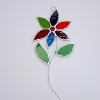 Stained Glass Flower Suncatcher - Handmade Hanging Decoration Multi