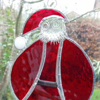 SALE - Stained Glass Santa Suncatcher - Handmade Hanging Decoration