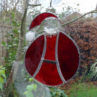 Stained Glass Santa Suncatcher - Handmade Hanging Decoration
