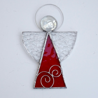 Large Stained Glass Angel Suncatcher  - Handmade Hanging Decoration - Red