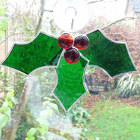 Stained Glass Christmas Holly & Berries Suncatcher - Handmade Hanging Decoration
