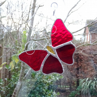 Stained Glass Butterfly Suncatcher - Handmade Decoration - Red