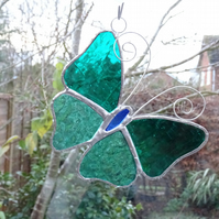 Stained Glass Butterfly Suncatcher - Handmade Decoration - Aqua