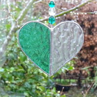 Stained Glass Small Heart Suncatcher - Handmade Decoration - Green  and Clear