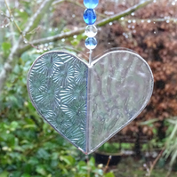 Stained Glass Small Heart Suncatcher - Handmade Decoration - Pale Blue