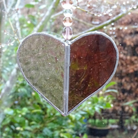 Stained Glass Small Heart Suncatcher - Handmade Decoration - Pink