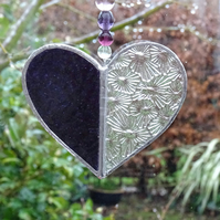 Stained Glass Small Heart Suncatcher - Handmade Decoration - Purple
