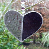 Stained Glass Small Heart Suncatcher - Handmade Decoration - Purple and Mauve