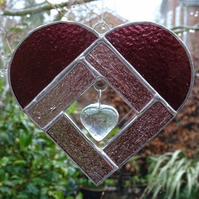 Stained Glass Heart Heart Suncatcher - Handmade Hanging Decoration - Pink