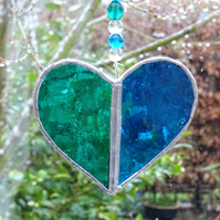 Stained Glass Heart Suncatcher - Handmade Decoration - Green  and Turquoise