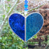 Stained Glass Small Heart Suncatcher - Handmade Decoration - Blue