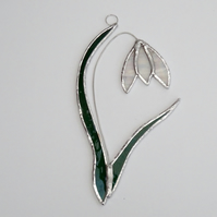 Stained Glass Snowdrop Suncatcher - Handmade Hanging Decoration