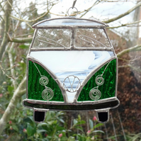 Stained Glass Camper Van Suncatcher - Handmade Decoration Green and White