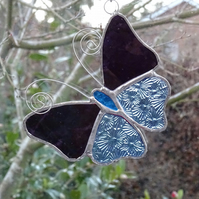 Stained Glass Butterfly Suncatcher - Handmade Decoration - Purple and Blue