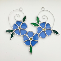 Stained Glass Forget Me Not Suncatcher - Handmade Hanging Decoration