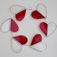 Stained Glass Circle of Hearts Suncatcher  - Handmade Hanging Decoration