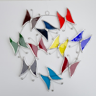 Large Butterfly Circle  Suncatcher - Handmade Hanging Decoration Multi Coloured