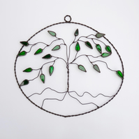 Stained Glass Tree Oval Suncatcher - Handmade Hanging Decoration - Green