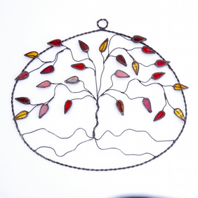 Stained Glass Tree Oval Suncatcher - Handmade Hanging Decoration - Red