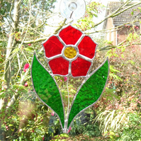 Stained Glass Poppy Suncatcher - Handmade Hanging Decoration Red