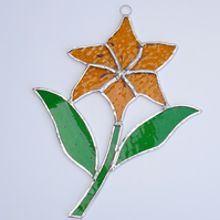 Stained Glass Lilly Suncatcher - Handmade Hanging Decoration - Amber