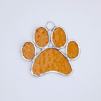 Stained Glass Paw Print Suncatcher - Handmade Hanging Decoration - Amber