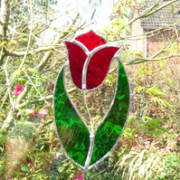 Stained Glass Tulip Suncatcher Handmade Hanging Decoration - Red