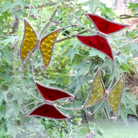 Small Butterfly Circle  Suncatcher - Handmade Hanging Decoration - Red and Amber