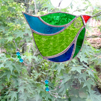 Stained Glass Funky Bird Suncatcher  - Handmade Decoration - Green and Blue