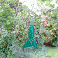 Stained Glass Mermaid Suncatcher - Handmade Hanging Decoration - Turquoise
