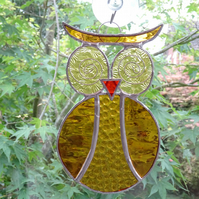 Stained Glass Owl Suncatcher - Handmade Hanging Window Decoration