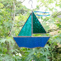 Stained Glass Sail Boat Suncatcher - Handmade Hanging Decoration - Teal and Turq