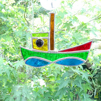 Stained Glass Tug Suncatcher - Handmade Window Decoration - Red and Green
