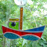Stained Glass Tug Suncatcher - Handmade Window Decoration - Red and Blue