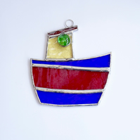 Stained Glass Tug Boat Suncatcher - Handmade Window Decoration - Red and Blue