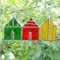 Stained Glass Beach Huts Suncatcher - Handmade Decoration - Red, Yellow, Green