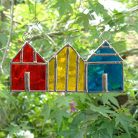 Stained Glass Beach Huts Suncatcher - Handmade Decoration - Red, Yellow, Teal
