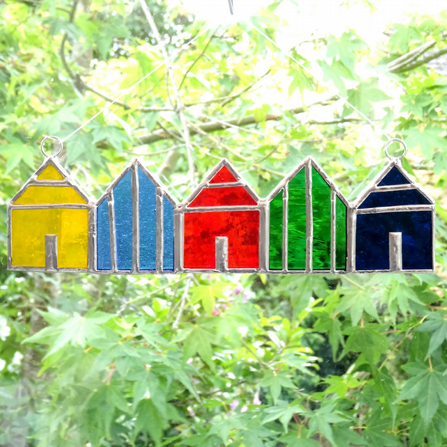 Stained Glass Beach Huts Suncatcher - Handmade Decoration - Multi