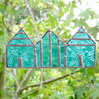 Stained Glass Beach Huts Suncatcher - Handmade Decoration - Light Turquoise