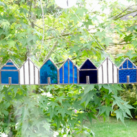 Stained Glass Beach Huts Suncatcher - Handmade Decoration - Blue Mix