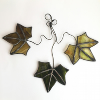 Stained Glass Autumn Leaves Suncatcher - Handmade Window Decoration