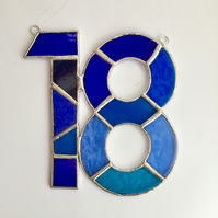 Stained Glass Number 18 Suncatcher - Handmade Window Decoration