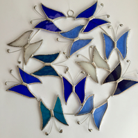 Large Butterfly Circle  Suncatcher - Handmade Hanging Decoration Blue and Turq