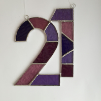 Stained Glass Number 21 Suncatcher - Handmade Window Decoration