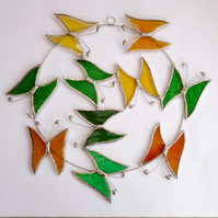 Stained Glass Butterfly Circle - To Order - Handmade Hanging Decoration