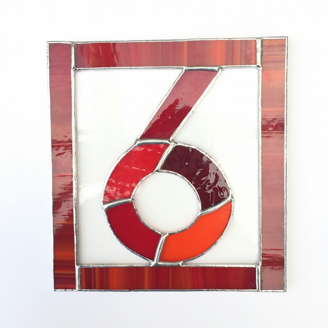Stained Glass Single House Number - TO ORDER - Handmade Decoration
